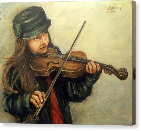 Girl And Her Violin Canvas Print