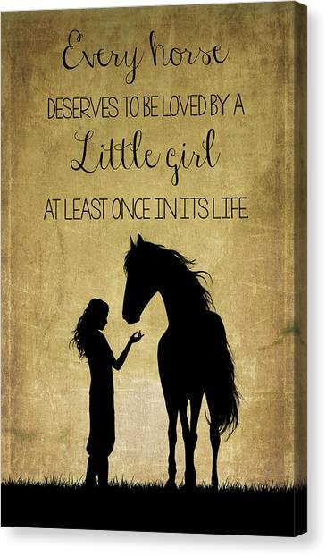 Girl And Horse Silhouette Canvas Print
