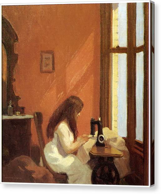 Girl At Sewing Machine Painting