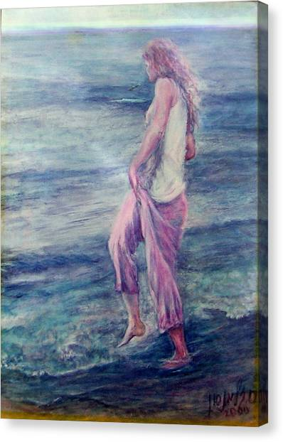 Girl At The Beach Canvas Print