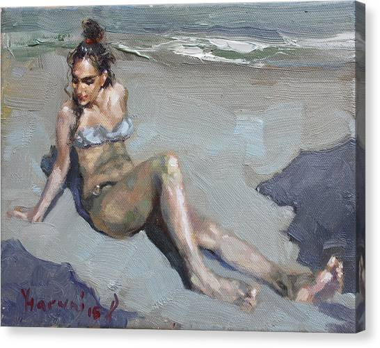 Bikini Canvas Print - Girl At The Beach  by Ylli Haruni