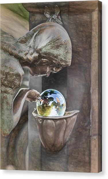 Girl At The Fountain Canvas Print