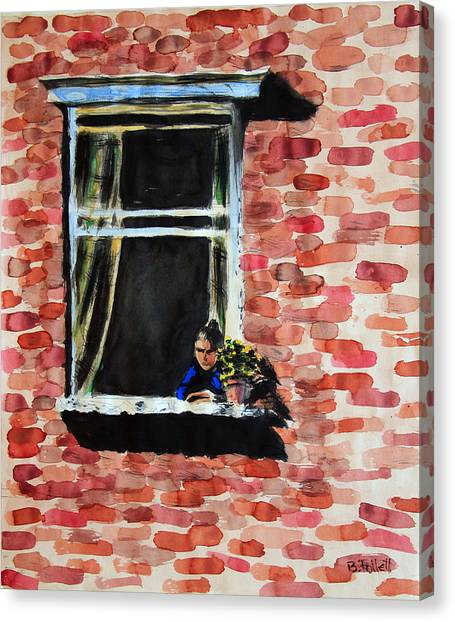 Girl At Window Canvas Print