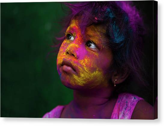 Girl During Holi Festival Canvas Print