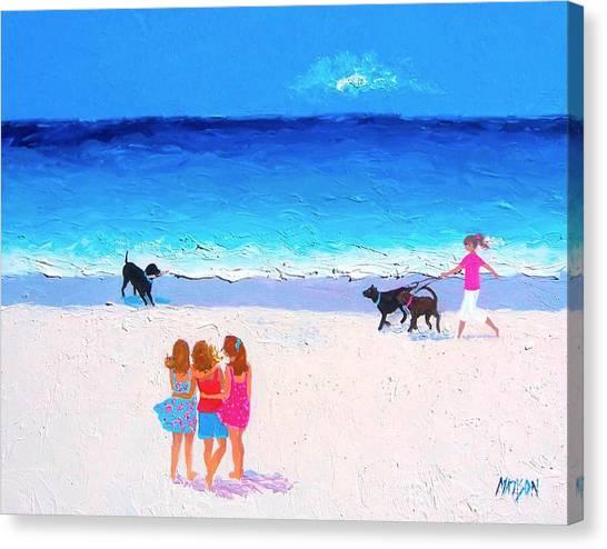On The Beach Canvas Print - Girl Friends - Beach Painting by Jan Matson