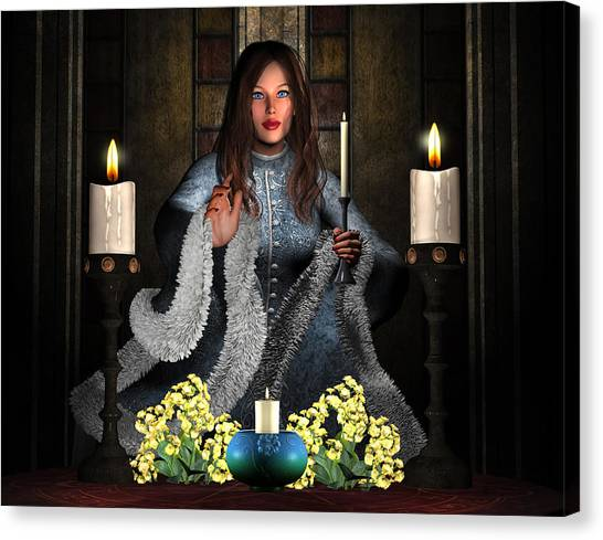 Girl Holding Candle Canvas Print