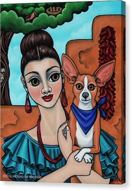 Girl Holding Chihuahua Art Dog Painting  Canvas Print