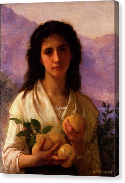 Academic Art Canvas Print - Girl Holding Lemons by Adolphe William Bouguereau
