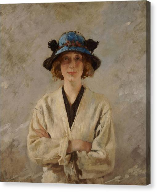 Lady In Hat Canvas Print - Girl In A Blue Hat ed4bff03fb4