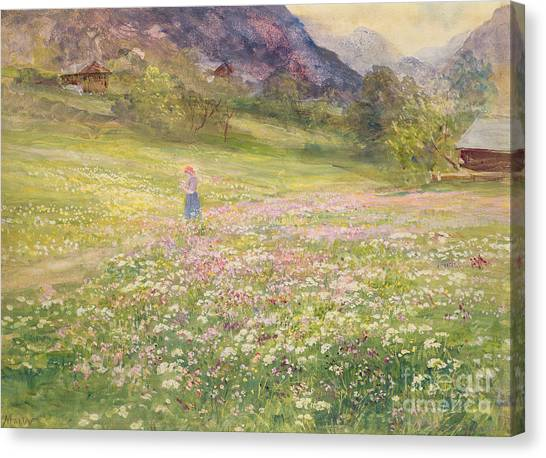 Girl In Landscape Canvas Print - Girl In A Field Of Poppies by John MacWhirter