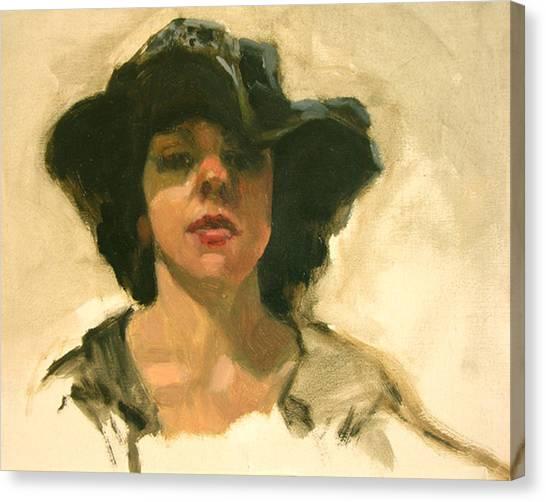 Girl In A Floppy Hat Canvas Print by Merle Keller