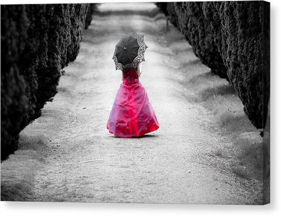 Girl In A Red Dress Canvas Print