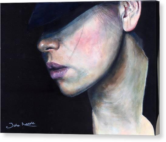 Girl In Black Hat Canvas Print