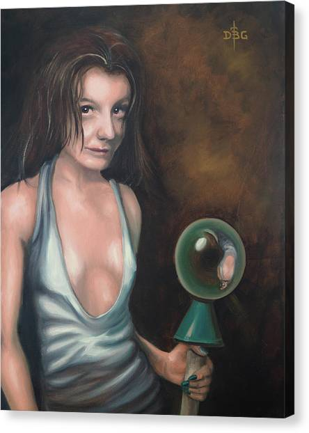 Girl In The Glass Canvas Print