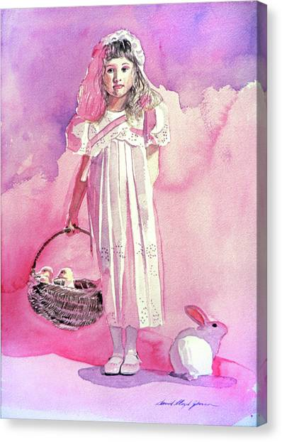 Easter Baskets Canvas Print - Girl In Pink by David Lloyd Glover