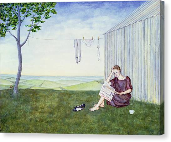 Girl In Landscape Canvas Print - Girl In The Garden by Ditz