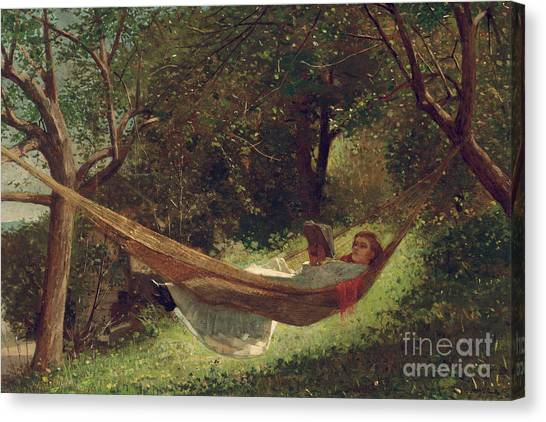 Winslow Canvas Print - Girl In The Hammock by Winslow Homer