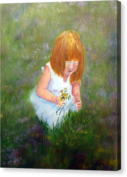 Girl In The Meadow Canvas Print