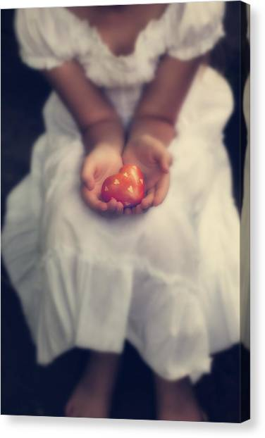 Girl Canvas Print - Girl Is Holding A Heart by Joana Kruse