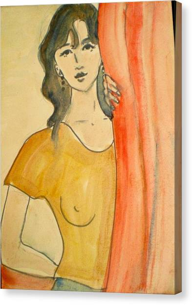 Girl Looking Through The Curtain Canvas Print by Maria Rosaria DAlessio