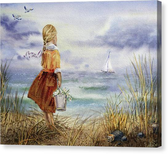 Irina Canvas Print - Girl Ocean Shore Birds And Seashell by Irina Sztukowski