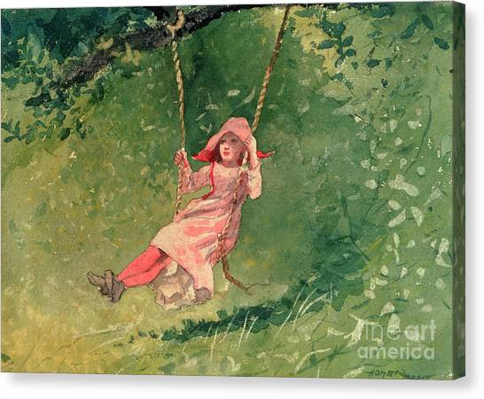 Girl Canvas Print - Girl On A Swing by Winslow Homer