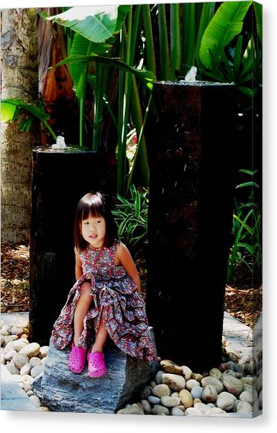Girl On Rocks Canvas Print