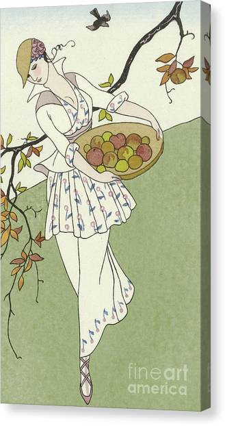 Fashion Plate Canvas Print - Girl Picking Apples by Georges Barbier