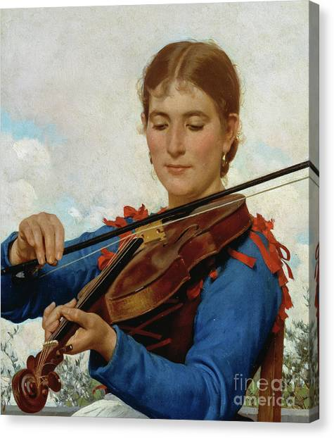Stringed Instruments Canvas Print - Girl Playing Violin by Raffaello Sorbi