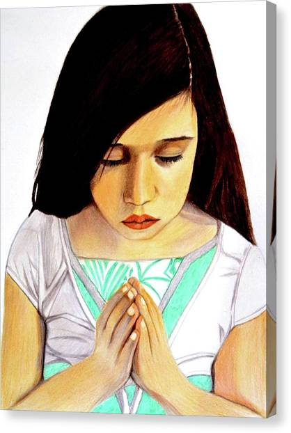 Girl Praying Drawing Portrait By Saribelle Canvas Print