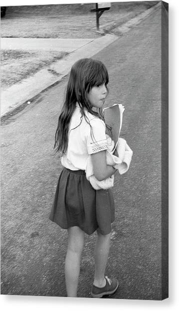 Girl Returns Home From School, 1971 Canvas Print
