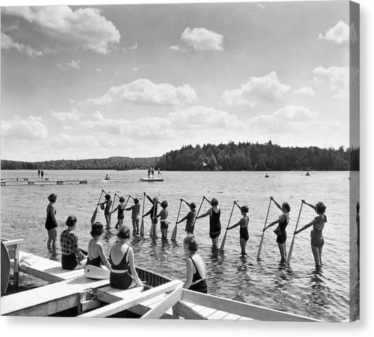 Girl Scouts Canvas Print - Girl Scout Canoe Lessons by Underwood Archives