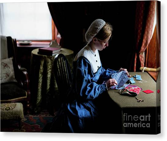 Girl Sewing Canvas Print