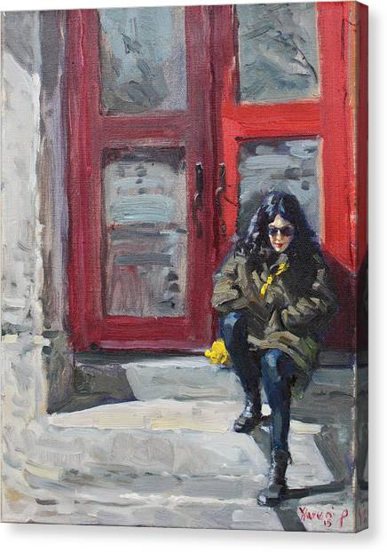 Red Door Canvas Print - Girl Sitting At Red Doorstep by Ylli Haruni