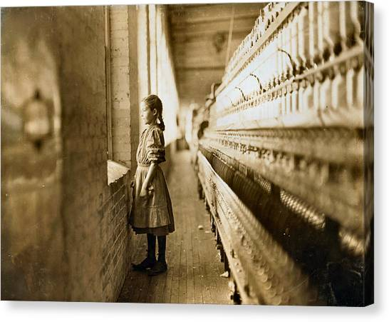Girl Spinner 11 Years Old Rhodes Manufacturing Co Lincolnton 1908 Canvas Print