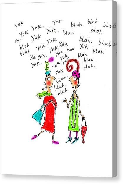 Yaks Canvas Print - Girl Talk by Karon Melillo DeVega