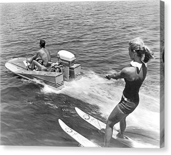 Water Skis Canvas Print - Girl Water Skiing by Underwood Archives