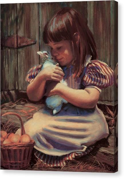 Rabbits Canvas Print - Girl With A Bunny by Jean Hildebrant