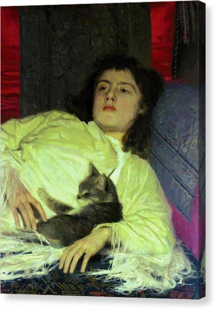 Girl With A Cat 1882 Canvas Print