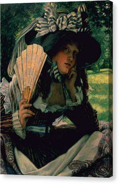 Victorian Garden Canvas Print - Girl With A Fan by James Jacques Joseph Tissot