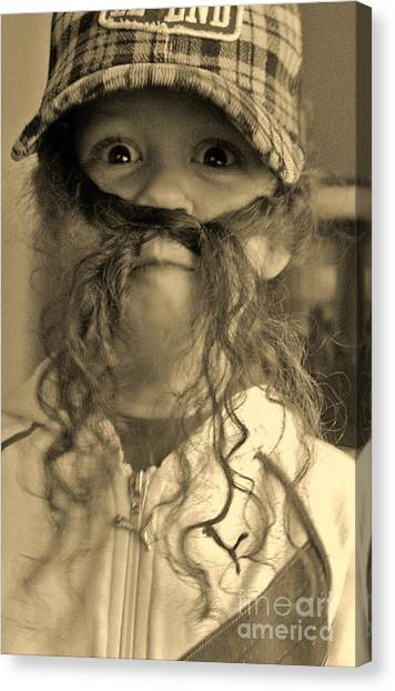 Girl With A Mustache 1 Canvas Print by Sarah Goodbread