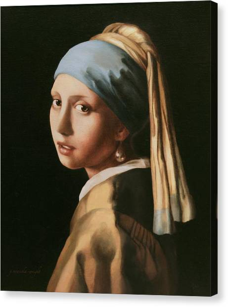 Girl With A Pearl Earring - After Vermeer Canvas Print