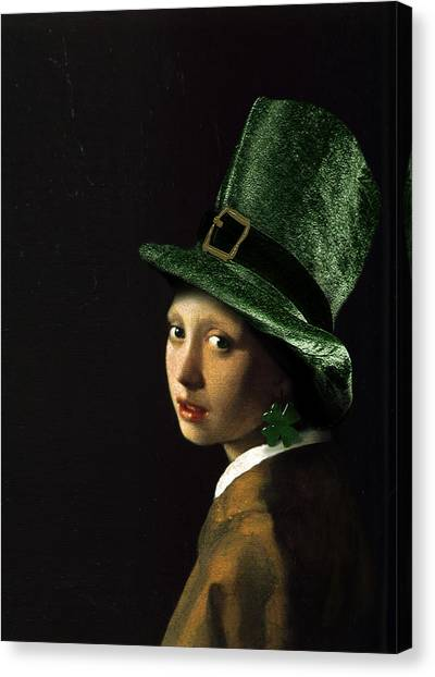 St. Patricks Day Canvas Print - Girl With A Shamrock Earring by Gravityx9   Designs