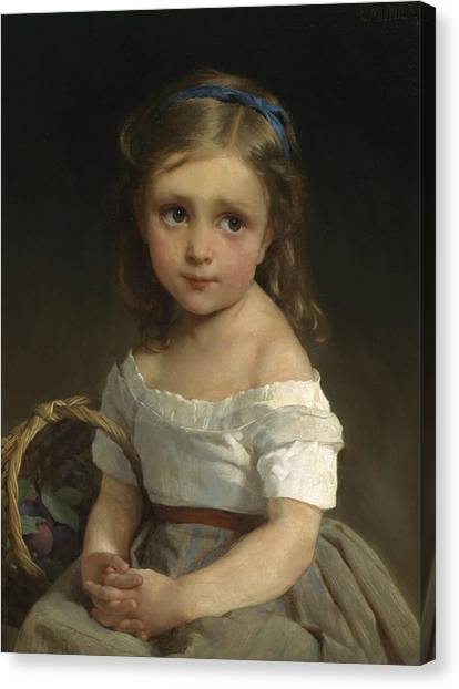 Academic Art Canvas Print - Girl With Basket Of Plums by Emile Munier