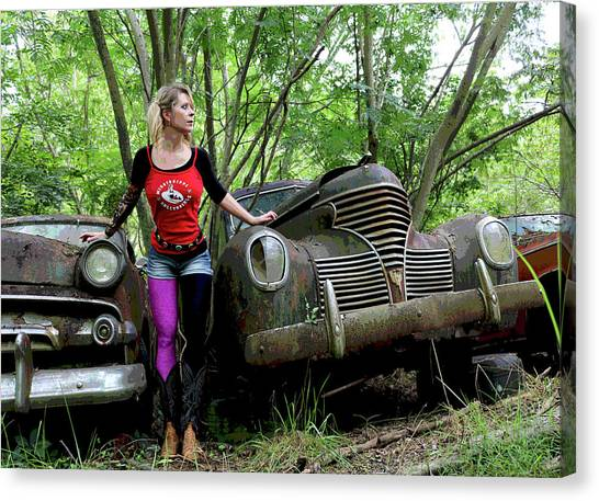Junk Canvas Print - Girl With Cars by Dayton Preston