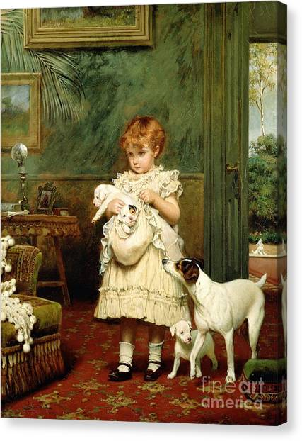 Oil On Canvas Print - Girl With Dogs by Charles Burton Barber