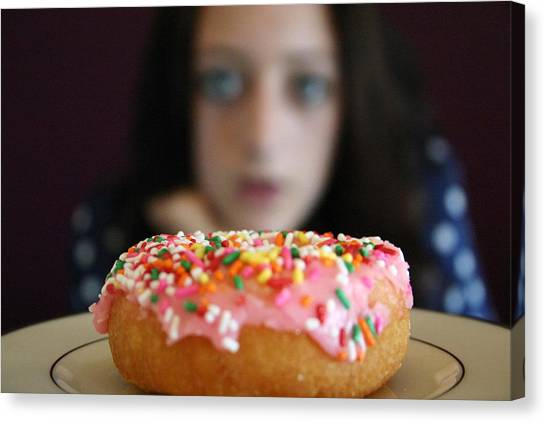 Doughnuts Canvas Print - Girl With Doughnut by Linda Woods