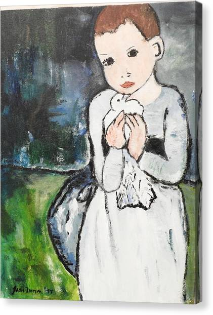 Canvas Print featuring the painting Girl With Dove, After Picasso Detail by Jean Forman