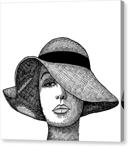 Girl With Fancy Hat Canvas Print by Karl Addison