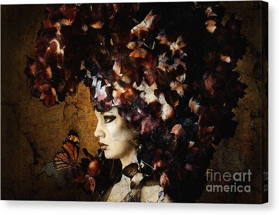 Girl With Flower Hat Canvas Print